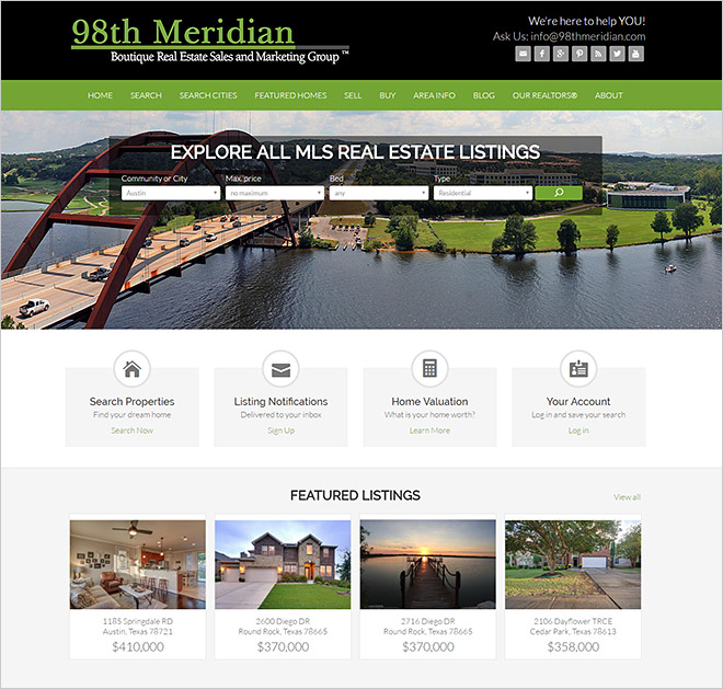 Austin Real Estate Website 98th Meridian