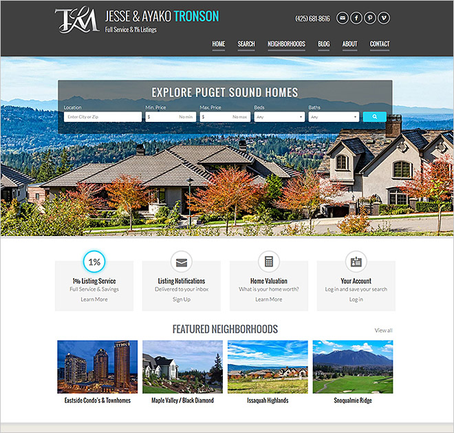 Washington Real Estate Website Tronson
