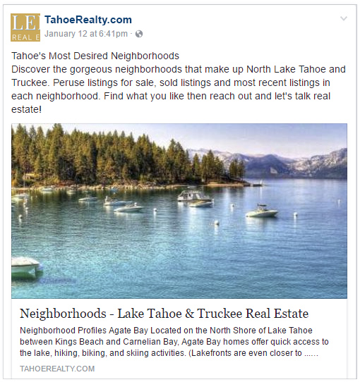 Lake Tahoe Facebook Post