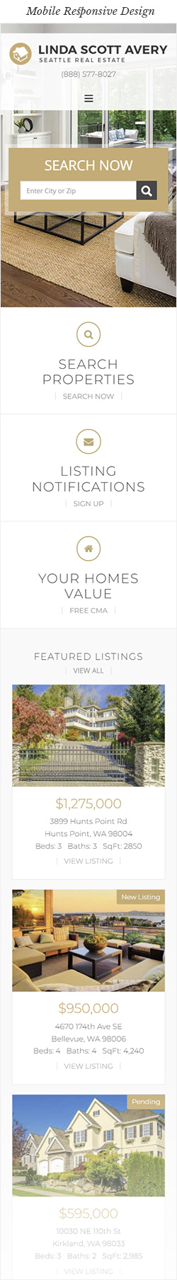 Seattle Real Estate Website Mobile Responsive