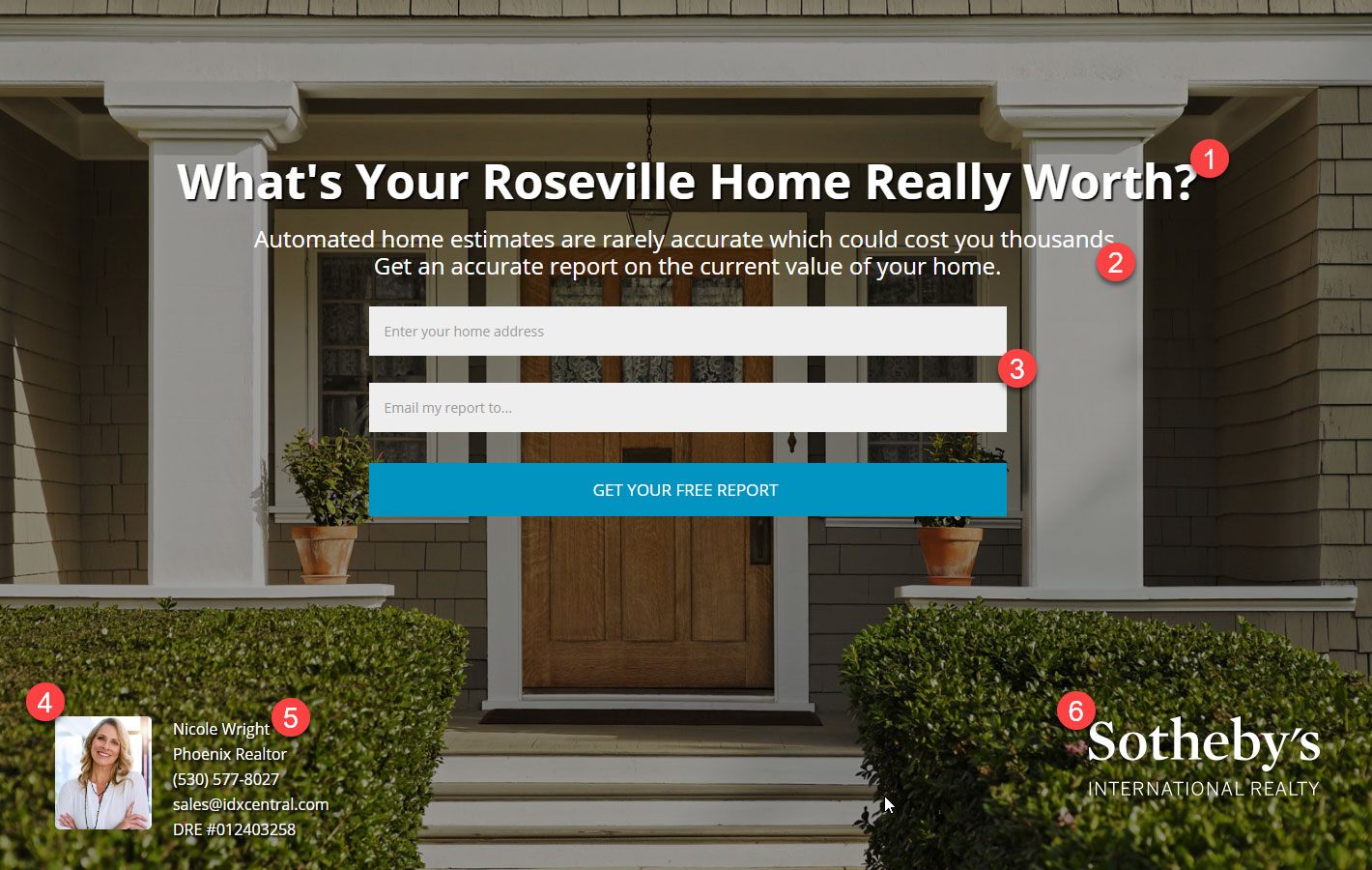landing page homes value example